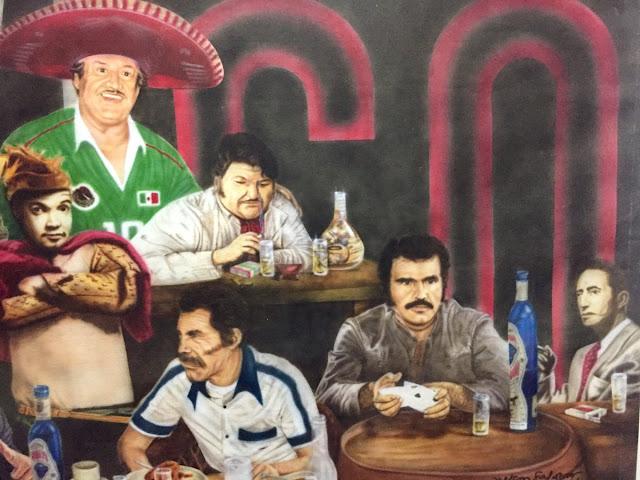 El mosaico de los meros machos de la cultura mexicana, con el Rey del Tequila, por supuesto, al lado de Cantinflas y José Alfredo Jiménez.