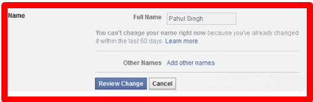Change Profile Name on Facebook Page