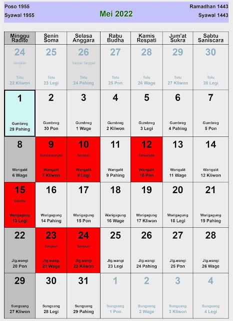 Kalender Jawa Mei 2022 Lengkap Hari Baik & Buruk