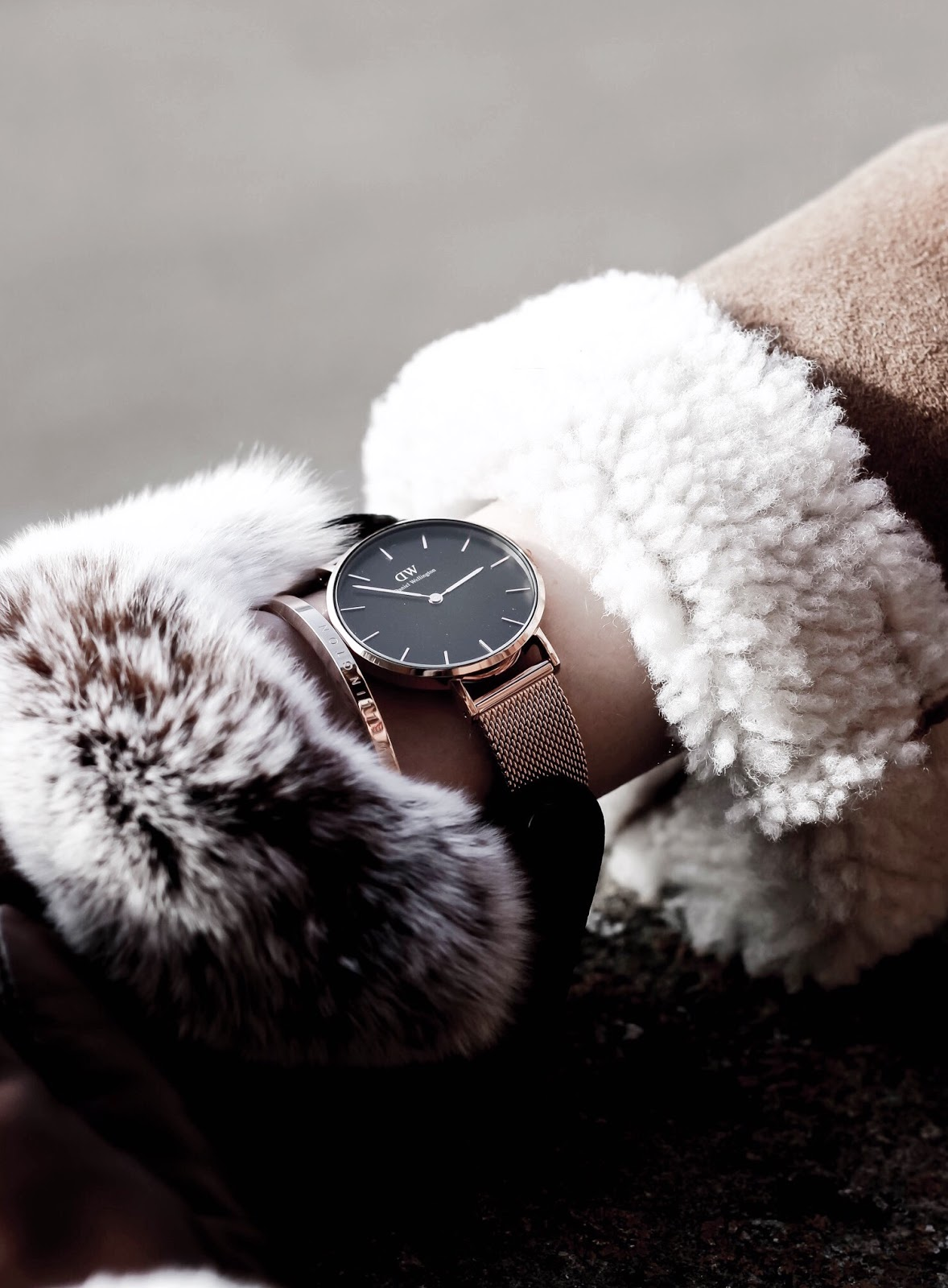Daniel Wellington Watch Styled With Rose Gold Bangle