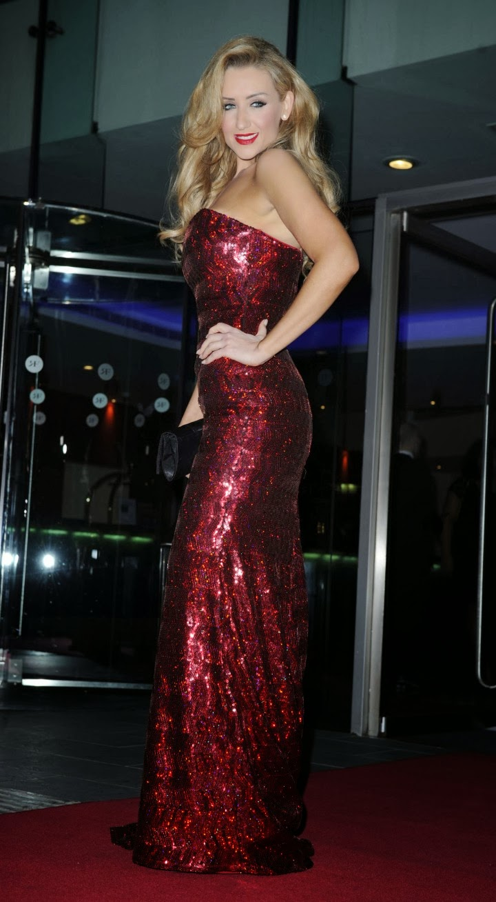 Catherine Tyldesley Sparkling Red Gown At 2014 The Mirror