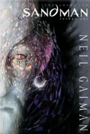 Cover of Absolute Sandman Volume 1, featuring the left half a pale face with kaleidoscopic effects around the eye. The background is shades of black and grey.