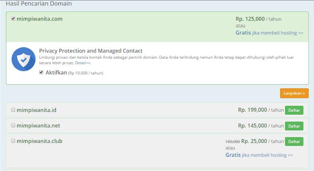 Hasil Pencarian Domain di RumahWeb