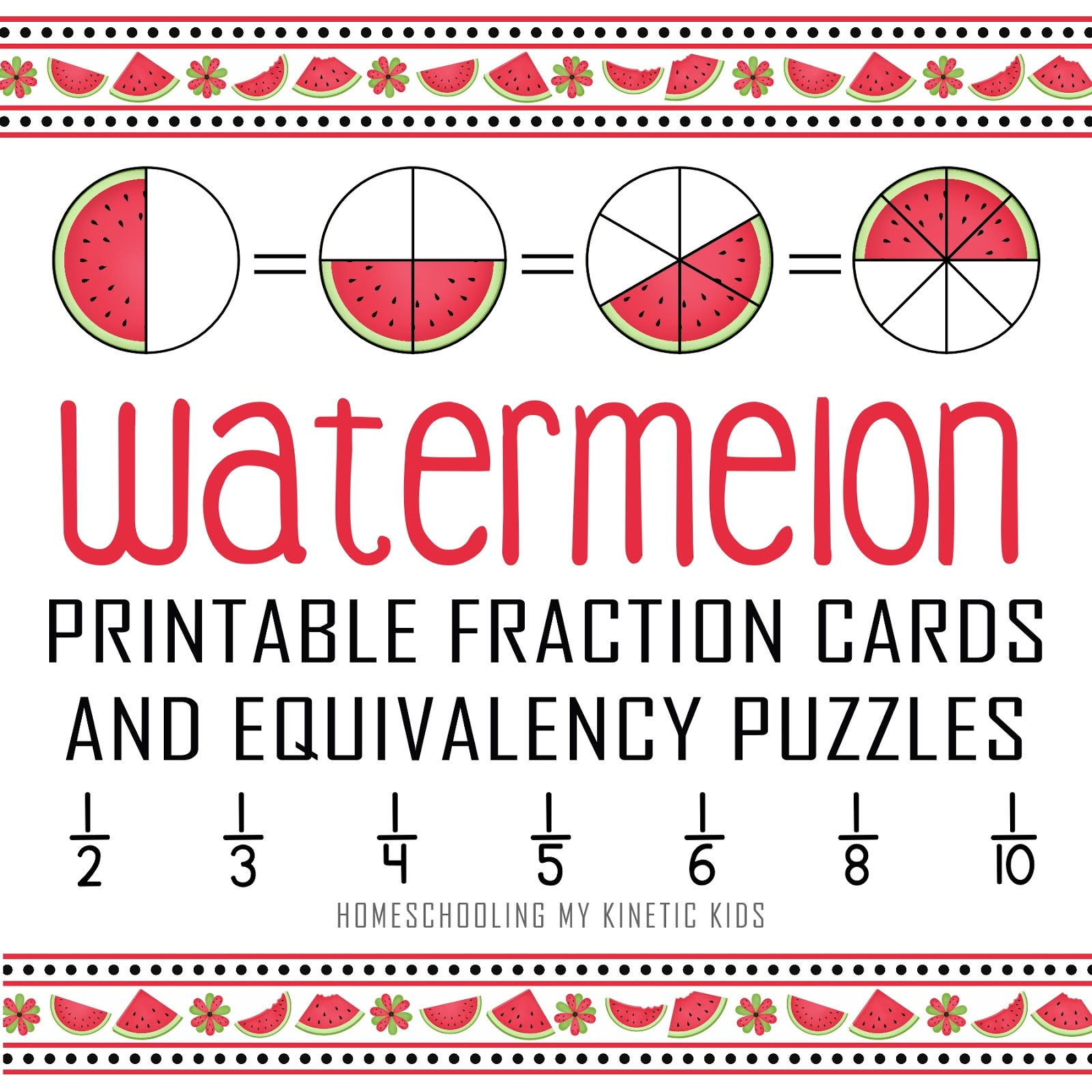 image about Fraction Cards Printable titled Watermelon 3-Aspect Portion Playing cards