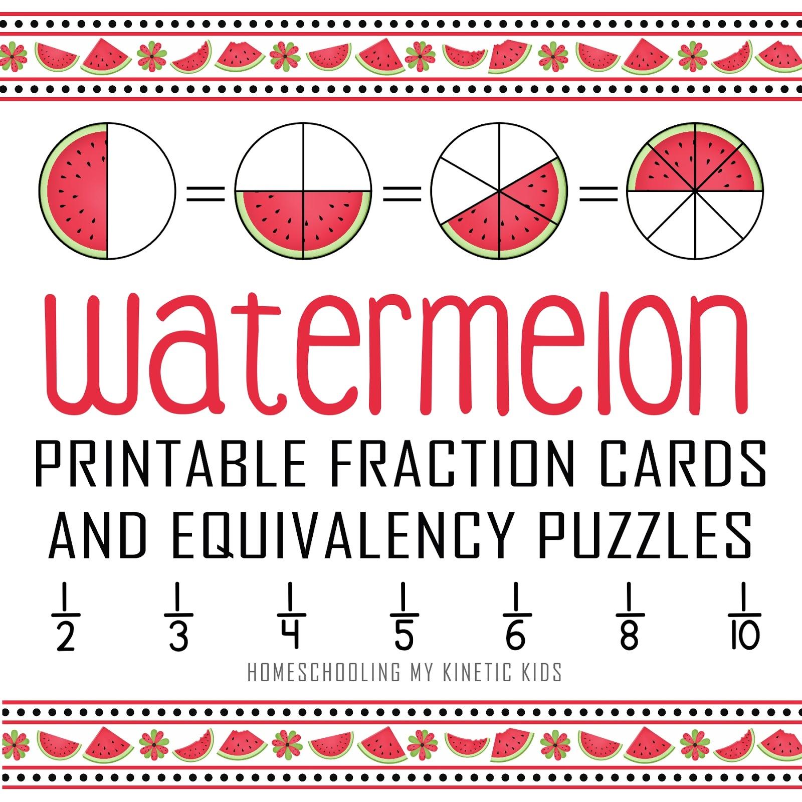 Watermelon 3 Part Fraction Cards