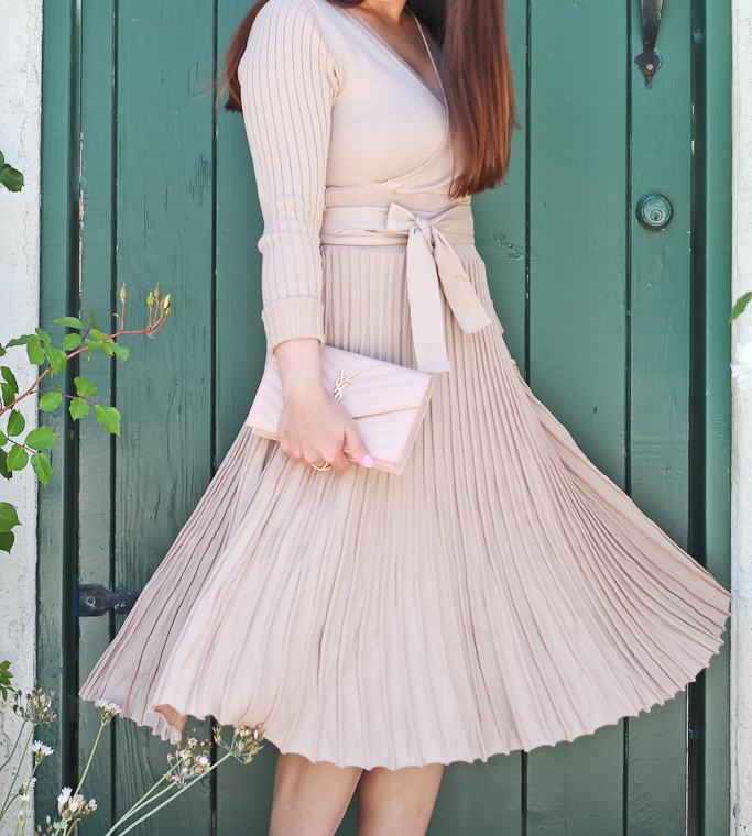 Baublebar Mason pave ring, Chicwish nude pleated dress*, Embrace a Lithe Knitted Dress in Nude, Kate Spade bow watch, Sole Society scalloped sandals, YSL saint laurent blush wallet on chain clutch*