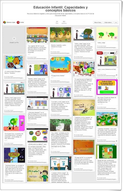 """Conjunto de juegos y actividades sobre """"Capacidades y conceptos básicos"""" en  Educación Infantil"""