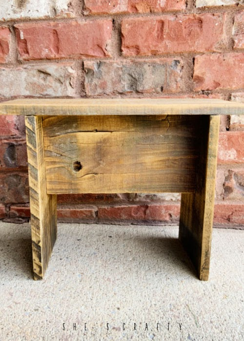 Stool made from weathered fence boards.