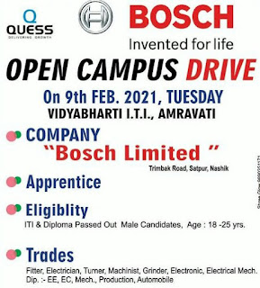 ITI & Diploma Job Campus Placement at Vidyabharti Private ITI, Amravati, Maharashtra For Company Bosch Limited