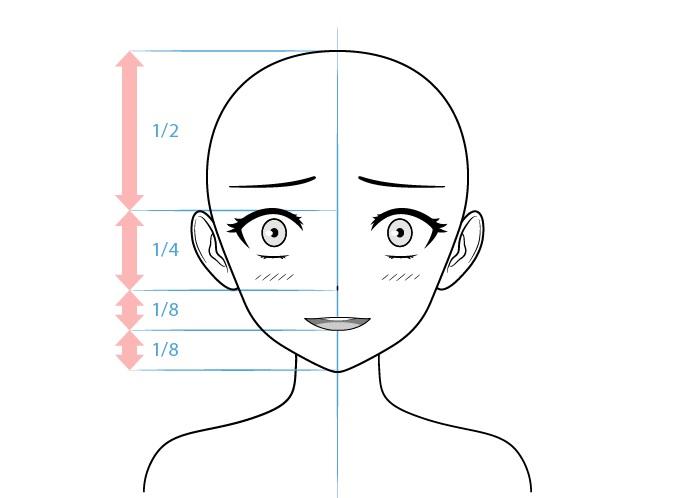 Anime yandere karakter wanita menggambar wajah gila
