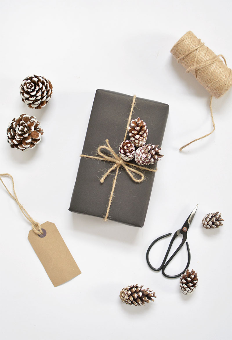 pine cones and black paper gift wrapping