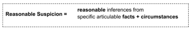 Reasonable Suspicion = reasonable inferences specific articulable facts + circumstances from