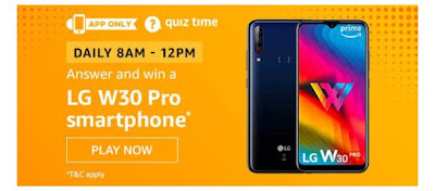 Today, 6th May Amazon Quiz Answers - Win LG W30 Pro Smartphone