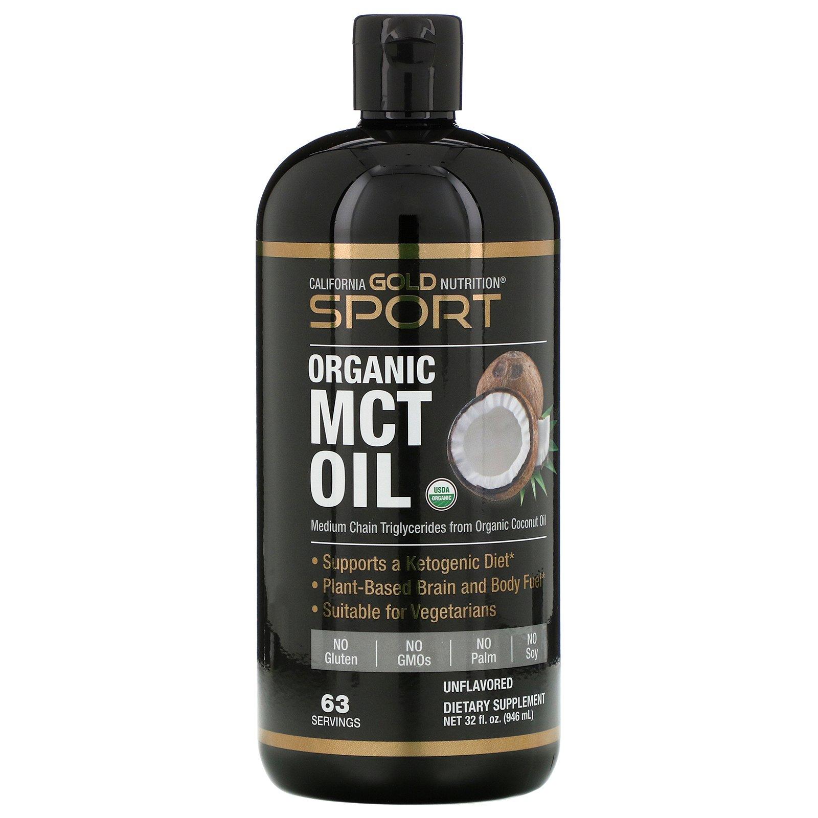 California Gold Nutrition, SPORTS, органическое масло MCT, неароматизированное, 946 мл (32 жидк. унции)
