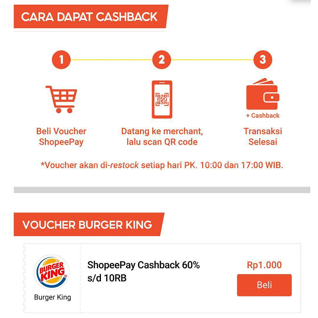 Promo Burger King Hari CheeseBurger Nasional Bayar Pakai Shopeepay cuma Rp 10.000/item