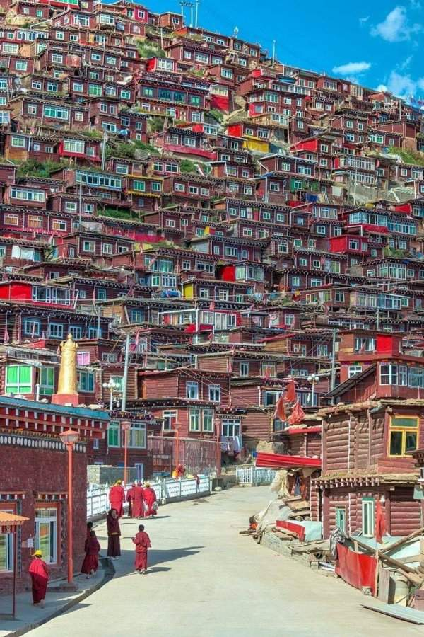 Colorful residential area in Tibet