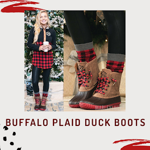 monogrammed buffalo plaid duck boots