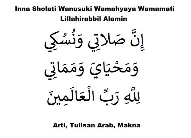 Inna Sholati Wanusuki Wamahyaya Wamamati Lillahirabbil Alamin