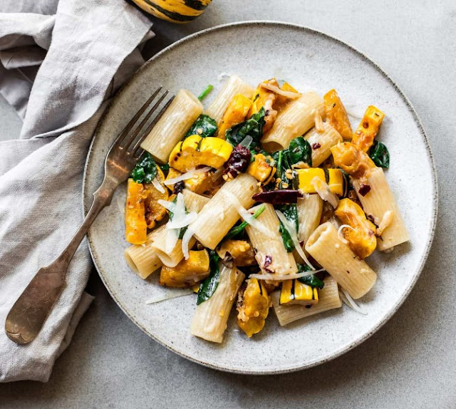 ROASTED DELICATA SQUASH RIGATONI PASTA WITH GREENS