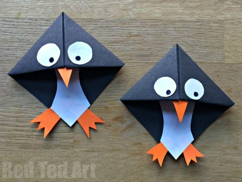 origami penguin bookmark craft