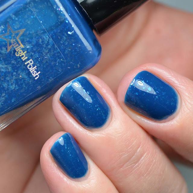 blue glitter nail polish swatch
