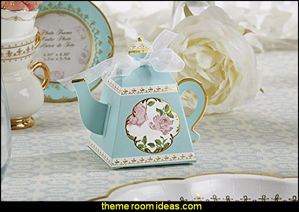 Tea Time Teapot Favor Box   flower garden tea party themed decorations - Floral Fiesta garden party decor -  Victorian garden party - backyard tea party -  Vintage tea party decorations - birthday tea party -  Spring garden Party - Victorian High Tea style  entertaining - Tea party decorations