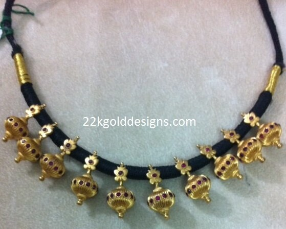 Gold Balls Black Dori Necklace