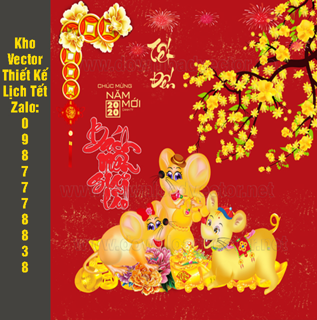 Vector Chuột vàng in bìa lịch