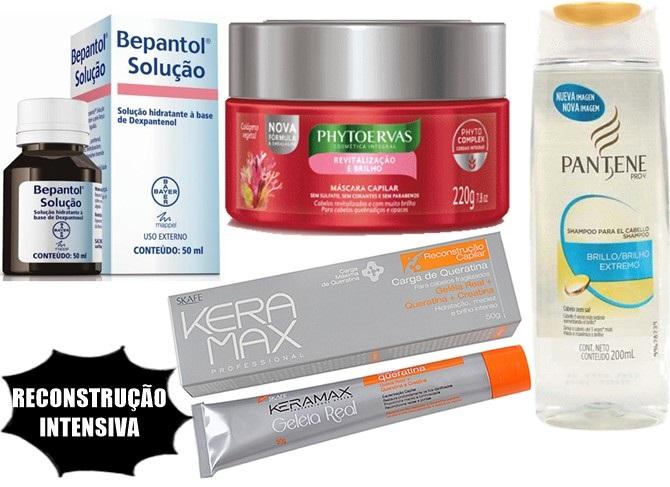 Reconstrução para cabelos com produtos de farmácia