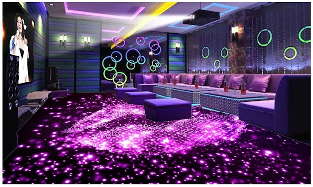 Modern Disco 3d Art For Living Room Floor And Led Lighting Ideas Walls