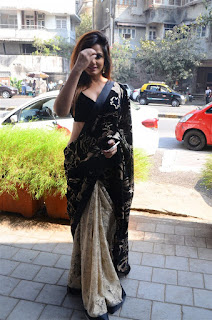 Neetu Chandra in Black Saree at Designer Sandhya Singh Store Launch Mumbai (6).jpg