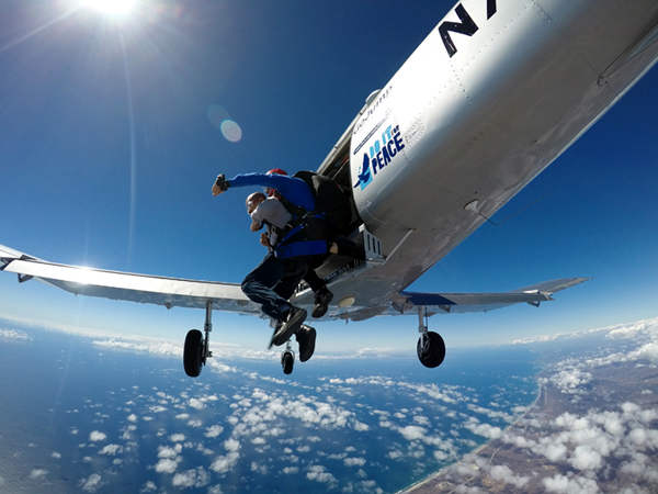 Celebrating my 39th birthday by doing a tandem skydive above Oceanside, California, on October 4, 2018.