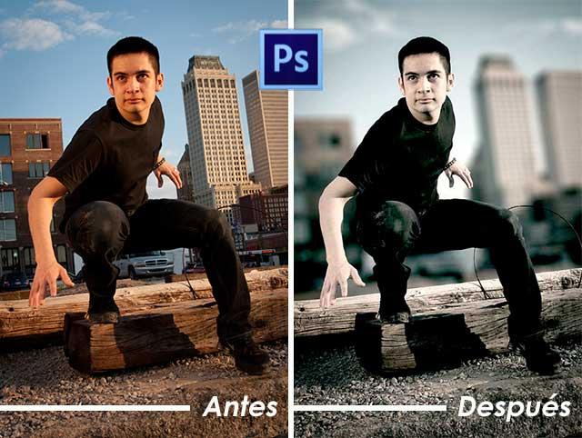 Tutorial Photoshop en Español Efecto Cine Antes y Después