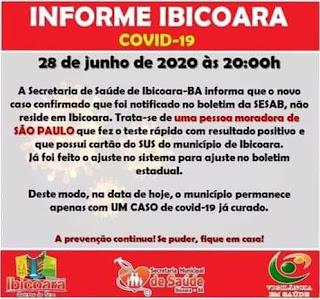 Nota de coronavírus em Ibicoara