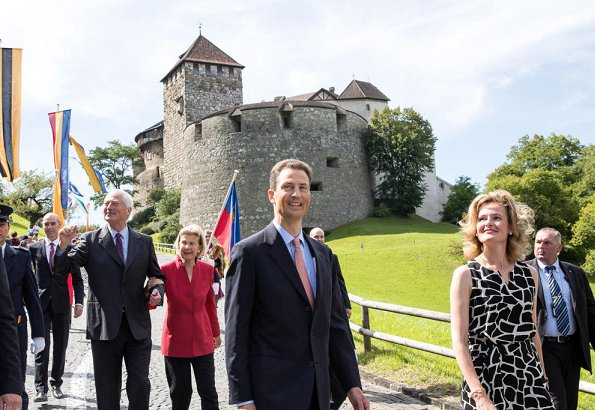 Prince Hans-Adam II, his wife Princess Marie, Prince Alois and his wife Princess Sophie of Liechtenstein attend the National Day