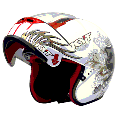 helm kyt M-Tech Dragon - White / Gold / Black (O.F)