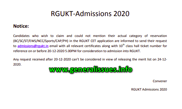 Notice on category of reservation, RGUKT-Admissions 2020