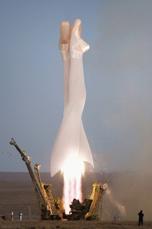 A photograph of the launch of Soyuz TMA rocket at the Baikonur cosmodrome. The rocket has been replaced with the legs of a ballerina, en pointe towards the cosmos. Thrust exhaust is shooting out from the thighs.