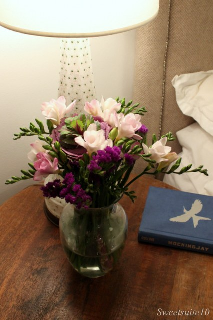 Freesia on a bedside table