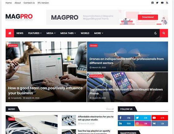 MagPro Premium Blogger Template free download