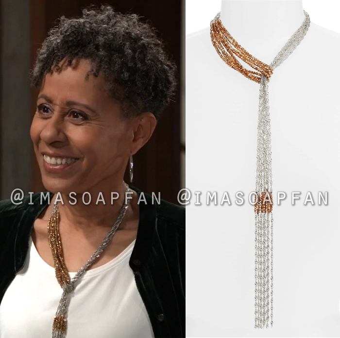 Stella Henry, Vernee Watson, Gold Bead and Silver Chain Pull Through Y-Necklace, General Hospital, GH