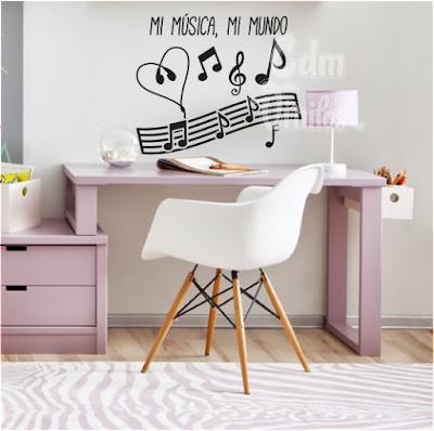 Vinilo decorativo infantil juvenil mi musica mi mundo - Vinilos pared musica ...