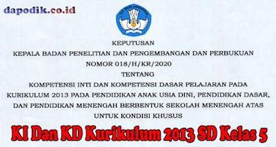 KI Dan KD Kurikulum 2013 SD Kelas 5 Untuk Kondisi Khusus Berdasarkan Keputusan Balitbang kemdikbud Nomor 018/ H/KR/2020