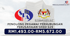 SPA Buka 46 Jawatan Kosong Terkini  Penolong Pegawai Perhubungan Perusahaan Gred S29 ~  Minima STPM/STAM Layak Mohon