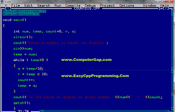 C++ Program to count number of digits in a given number