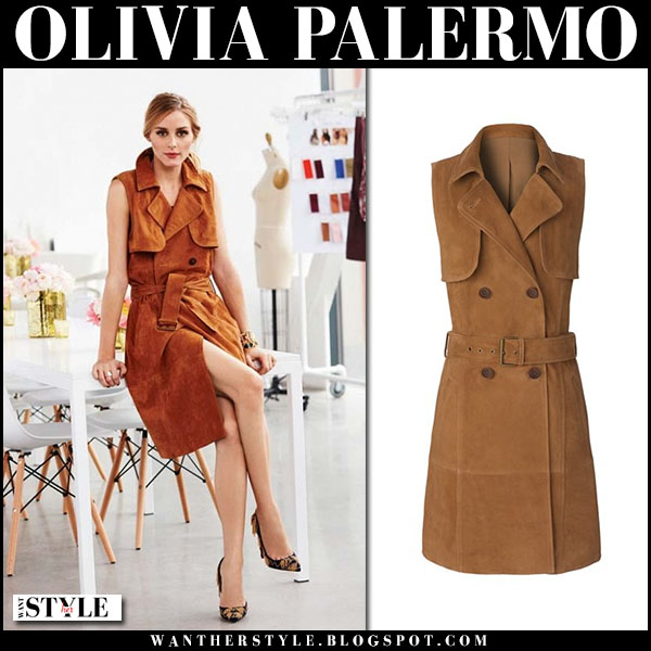 Olivia Palermo in cognac suede trench dress Chelsea28 what she wore get the look