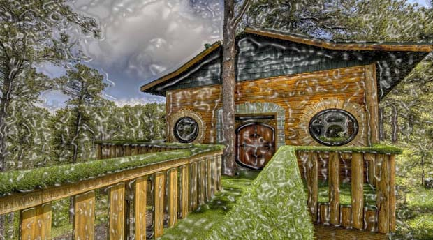 "This fanciful tree house is enthused by ""The Lord of the Rings"". On the black hills of South Dakota, the 16 feet high suite shows of a gauntlet supporting the majestic one ring, a Sauron mask, elvish inscriptions, hobbit slippers and circular windows and doors. Chateau De Soleil, the 4 bedroom dwelling, the side of this suite holds Gandalf sized adults or Frodo sized kids."