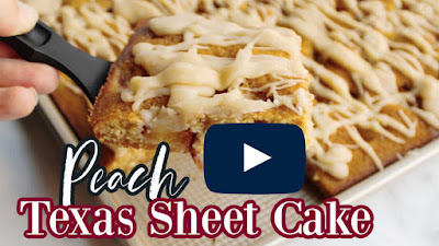 thumbnail for peach cake YouTube video