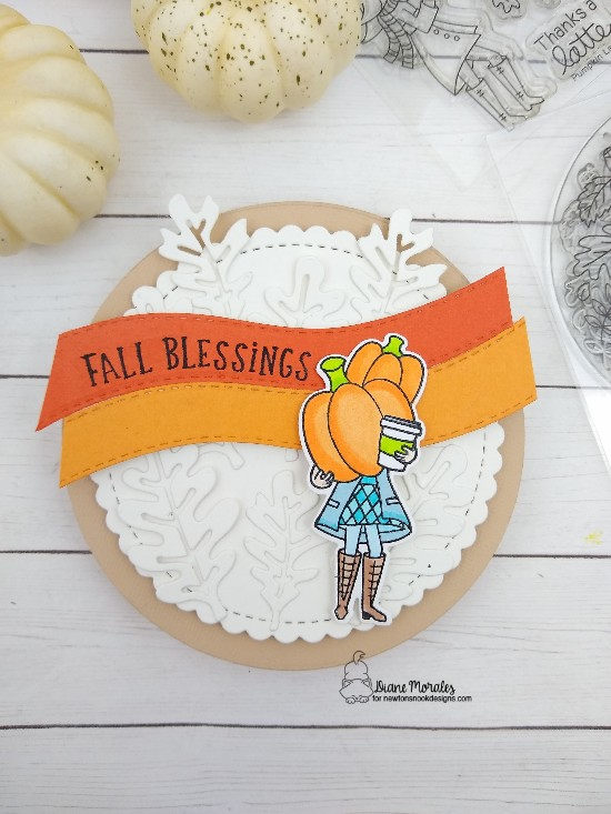 Fall Blessings by Diane features Pumpkin Latte, Fall Roundabout, Autumn Leaves, Circle Frames, and Land Borders by Newton's Nook Designs; #newtonsnook, #cardmaking, #coffee, #pumpkinspice