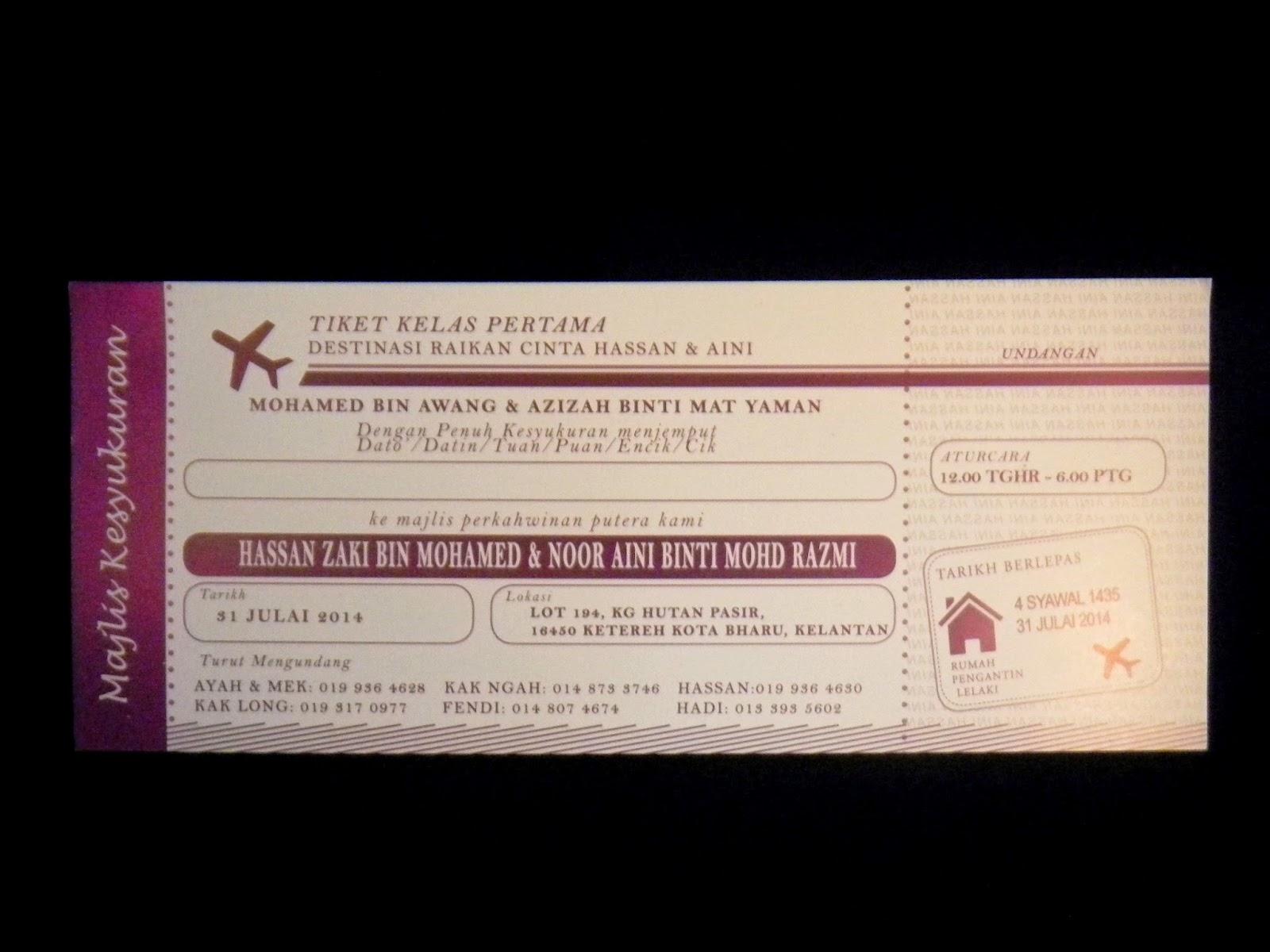 Kad Kahwin Tiket Kapal Terbang Percetakan Al Hikmah